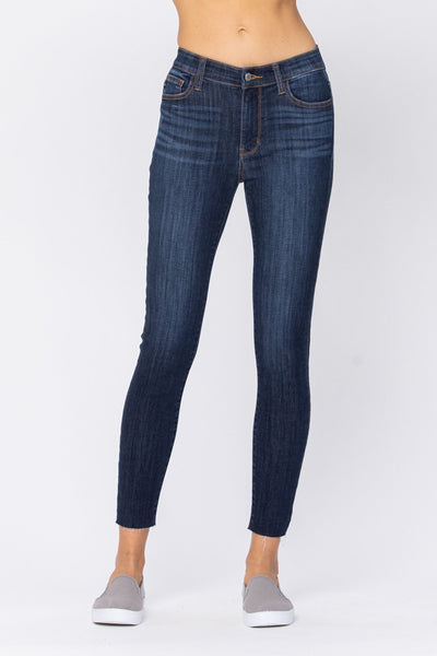 Dark Wash Mid Rise Judy Blue Non Distressed Skinny Jeans