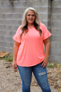 Robyn Neon Coral Ruffle Sleeve Top