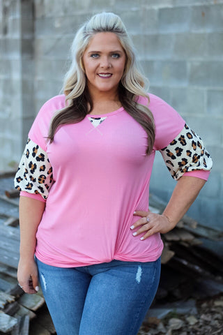 Milan Pink Leopard Puff Sleeve Top