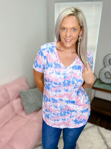 Mya Pink and Blue Splatter Top