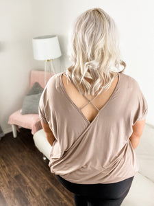 Cassidy Taupe Crisscross Back Top