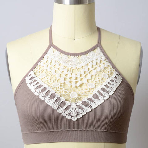 Mocha Crochet Lace High Neck Bralette