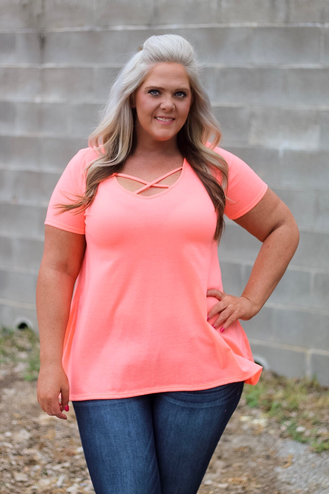 Blair Neon Orange CrissCross Tunic