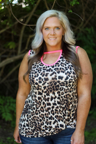 Evie Leopard and Neon Pink Cut Out Tank