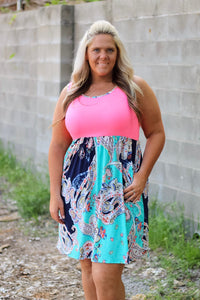 Nella Pink and Blue Print Dress