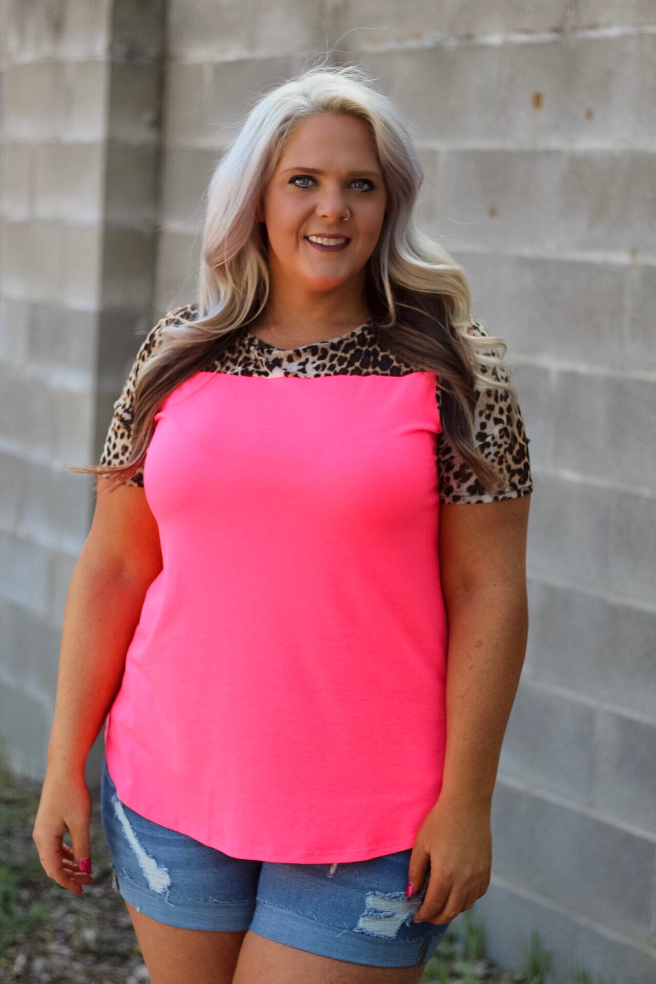 Landon Hot Pink and Leopard Top