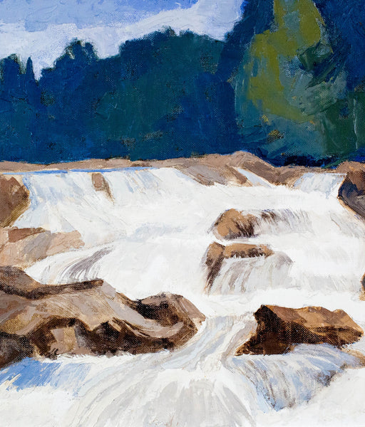 "Roy Austin ""Falls/Sand River"" Oil on Board, 1993"