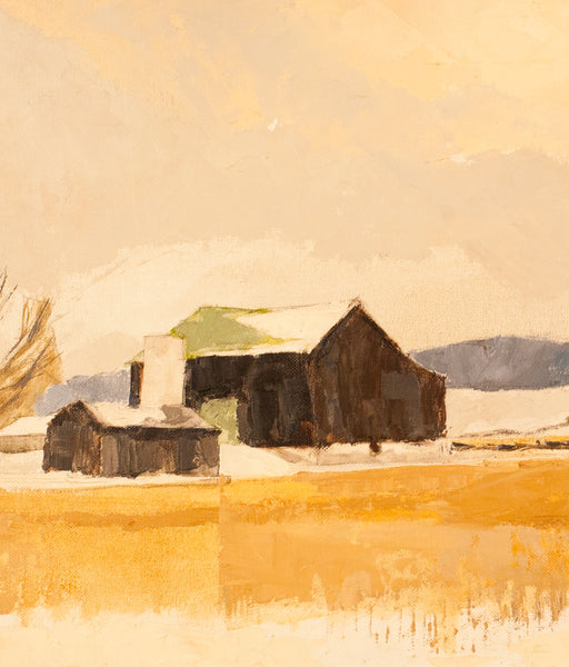 "Roy Austin ""Winter Yellow"" Oil on Board, 1995"