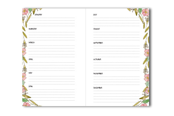 52 Week Planner Spread Printable File with Floral Border