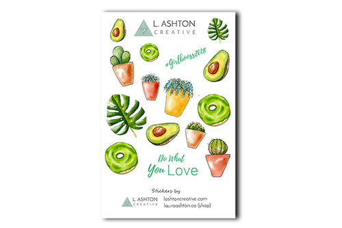 Cactus and House Plants Printable Sticker Sheet