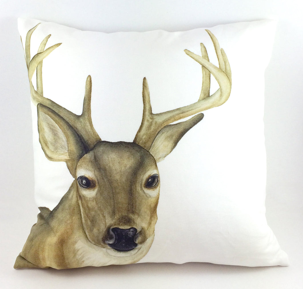 Watercolor White-tailed Deer Throw Pillow Cover