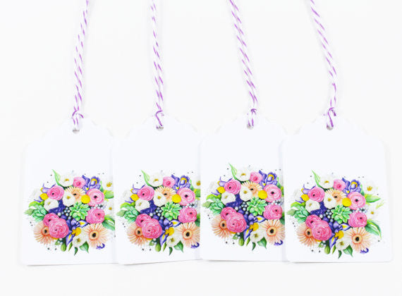 Floral Bouquet Watercolor Gift Tags