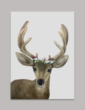 Holiday Stag and Berries Watercolor Art Print