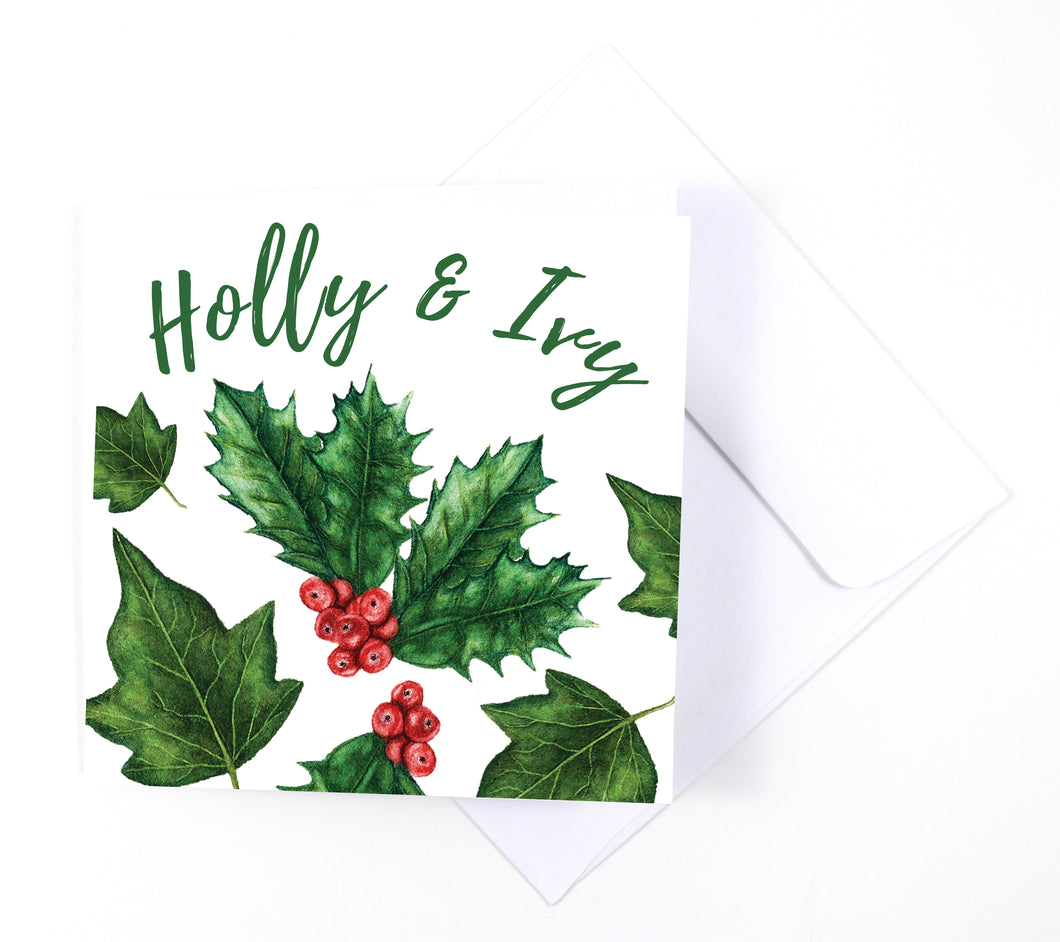 The Holly and Ivy Watercolor Holiday Card