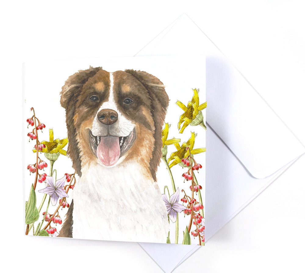 Aussie Shepard Dog in Wildflowers Watercolor Greeting Card