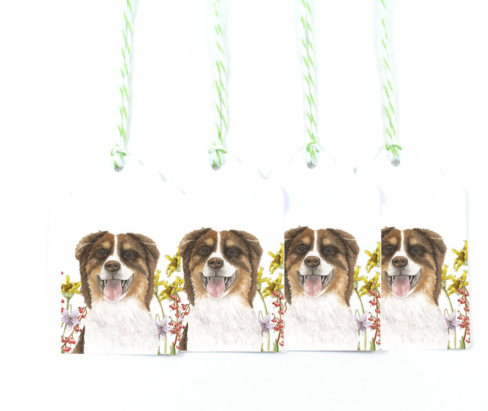 Watercolor Dog in Wildflowers Gift Tags
