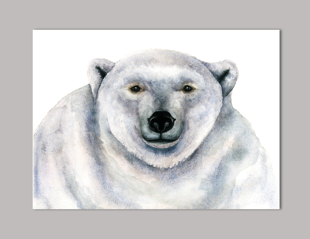 Polar Bear Holiday Watercolor Art Print