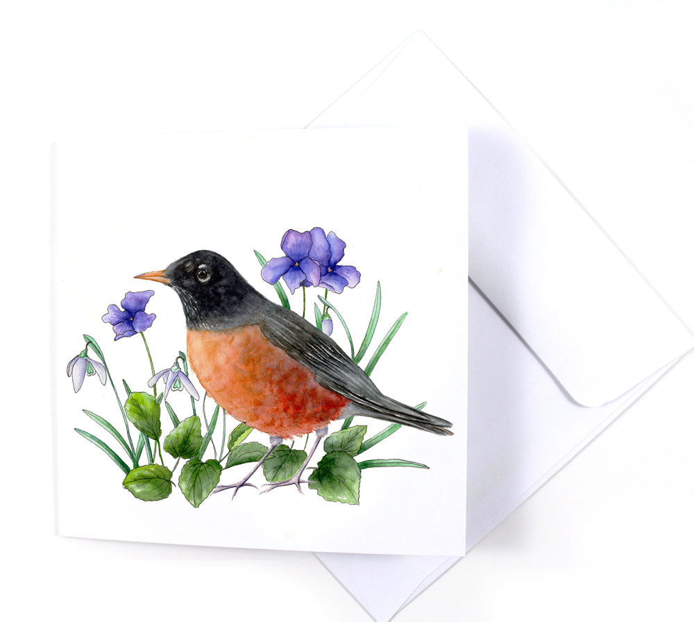 Red-Breasted Robin Watercolor Greeting Card