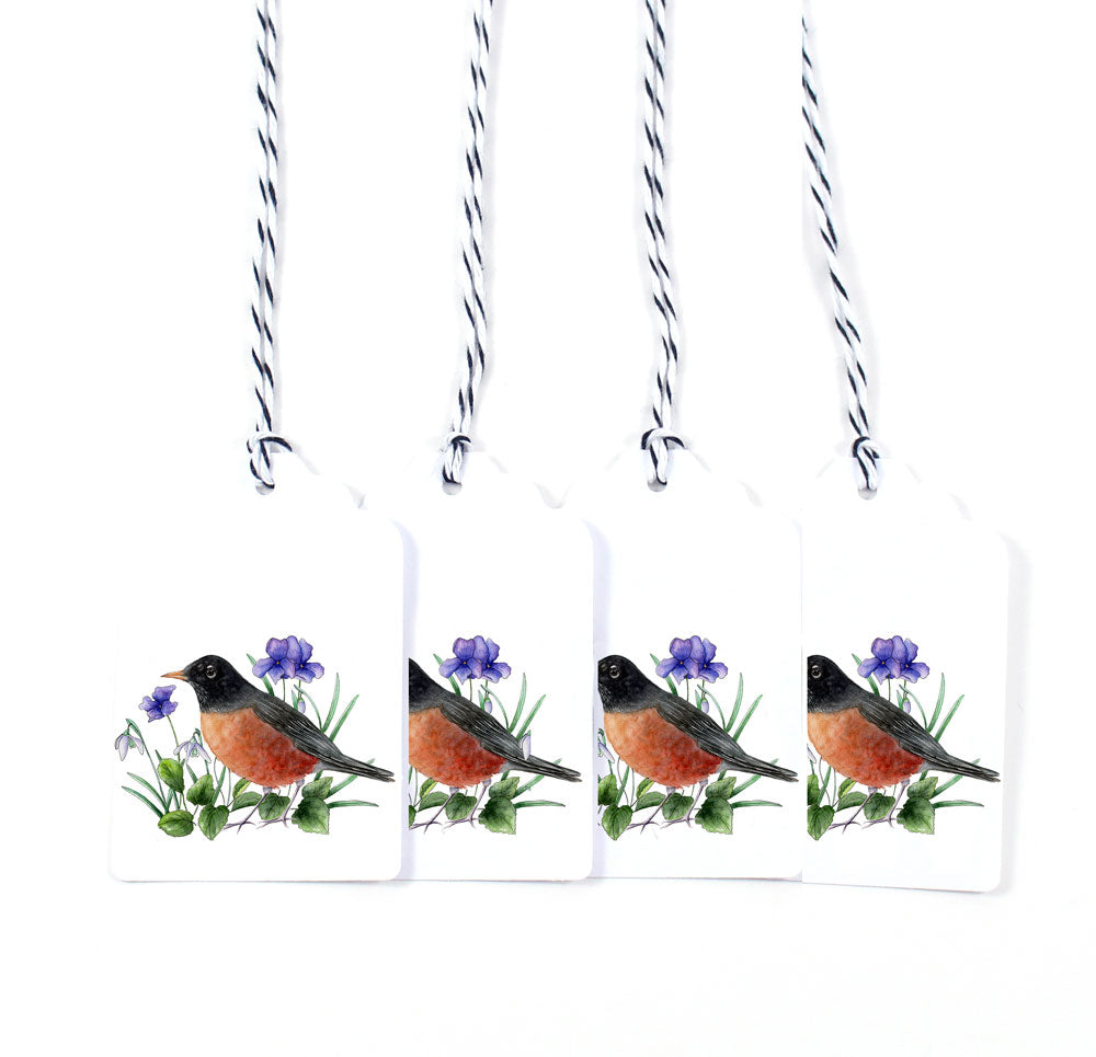 Red-Breasted Robin Watercolor Gift Tags