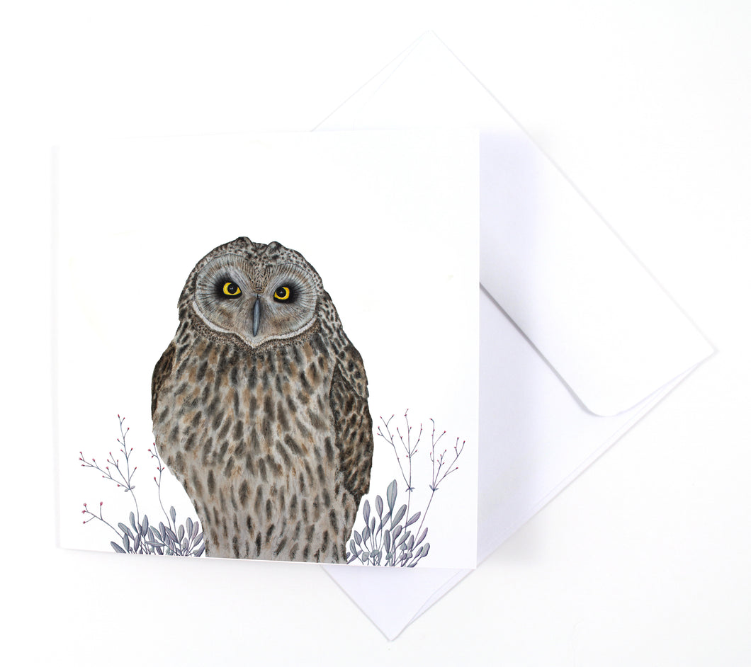 Short-eared Owl Watercolor Holiday Card