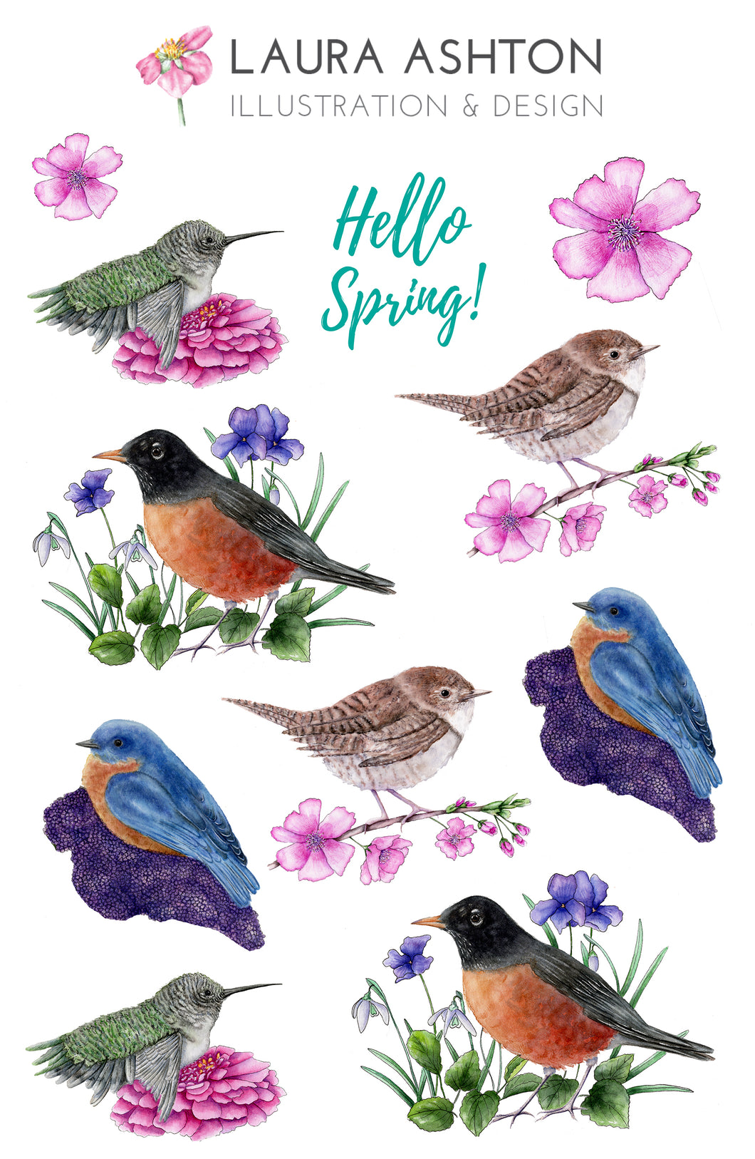image relating to Printable Sticker titled Watercolor Spring Birds Printable Sticker Sheet