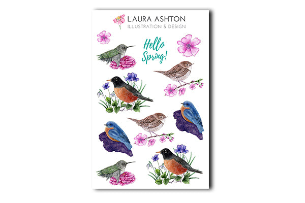 photo about Printable Sticker Sheet named Watercolor Spring Birds Printable Sticker Sheet
