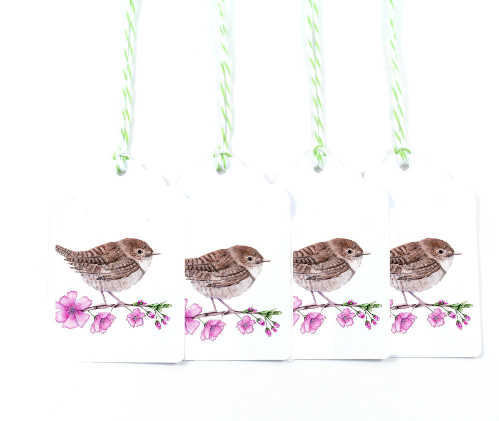 House Wren and Cherry Blossom Watercolor Gift Tags