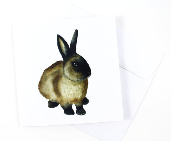 Brown Rabbit Watercolor Card