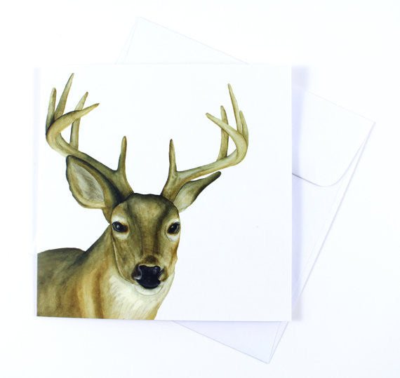 White-tailed Deer Holiday Watercolor Card