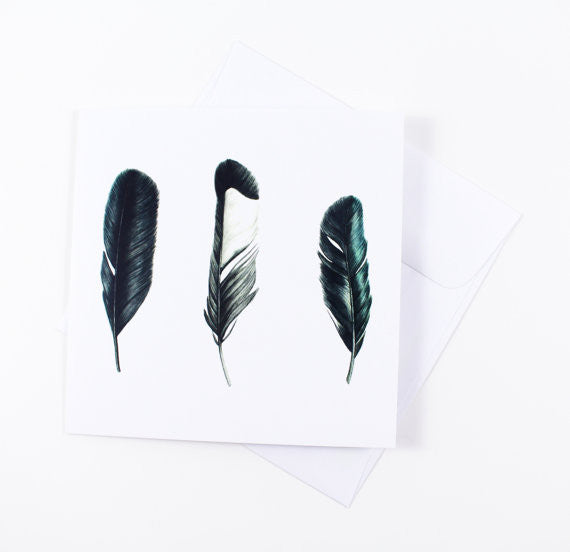 Magpie Feathers Watercolor Greeting Card