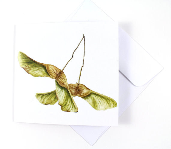 Watercolor Maple Keys Blank Greeting Card