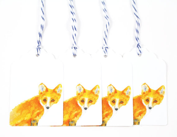 Red Fox Watercolor Gift Tags