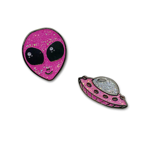 Sara M. Lyons Out of this World Glitter Alien & UFO Enamel Pin Set