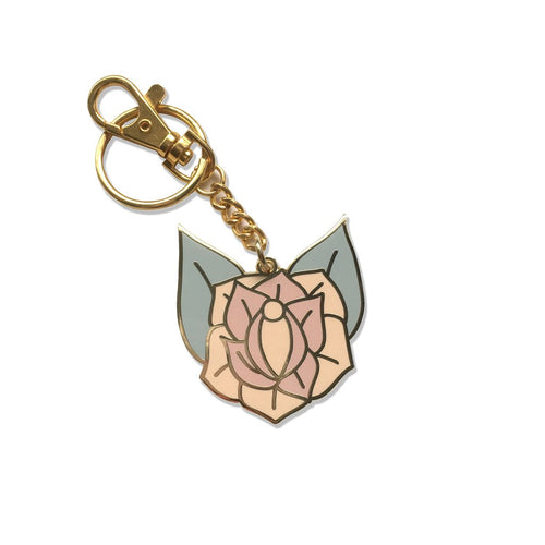 Lady No Brow Rose Gold Enamel Keychain