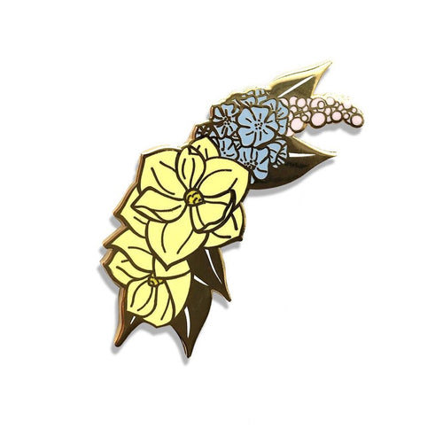 Lady No Brow Magnolia Enamel Pin