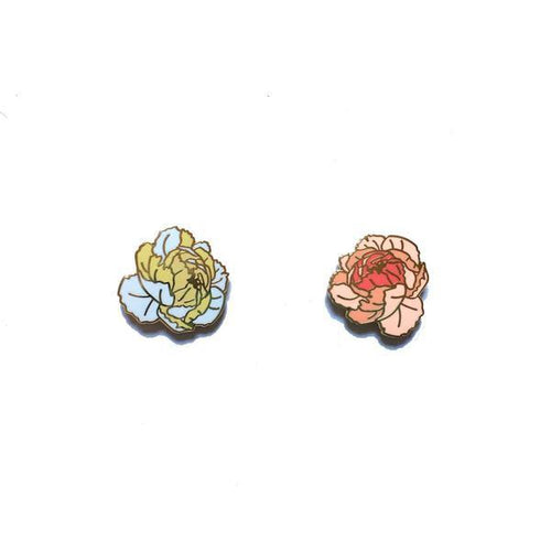 Lady No Brow Peony Enamel Pin Set
