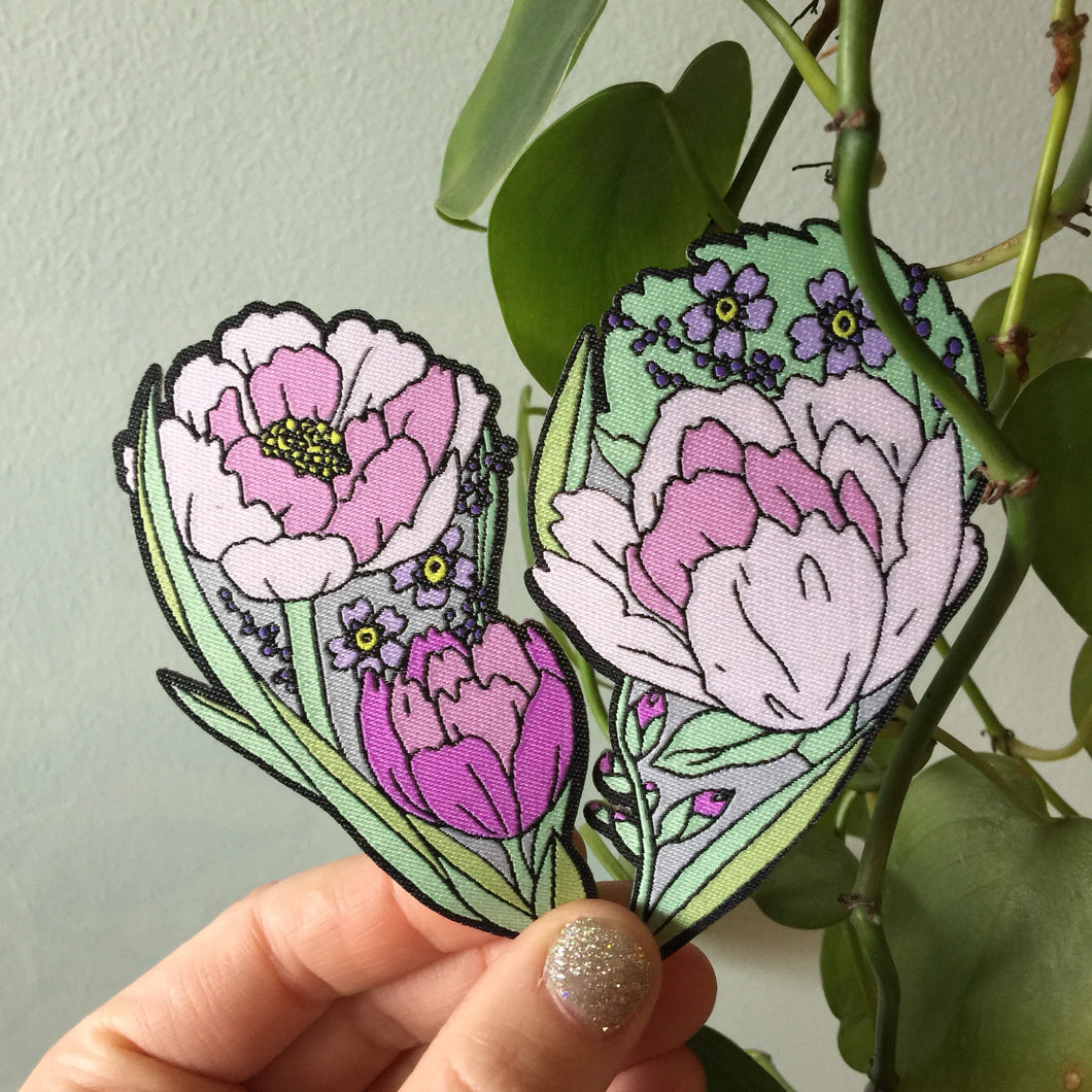 Lovestruck Prints Shareable Floral Heart Iron-On Patch Set