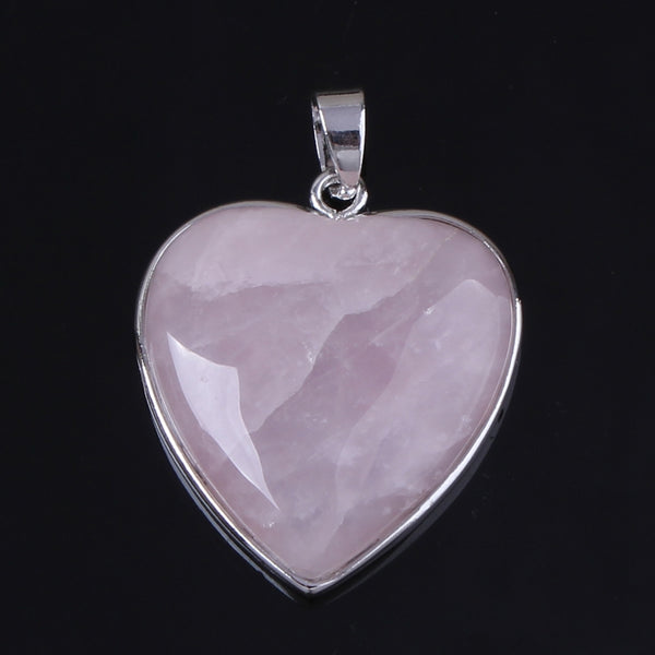 Kraft-beads New Stylish Silver Plated Natural Rose Pink Quartz Forever Love Heart Pendant Fashion Jewelry