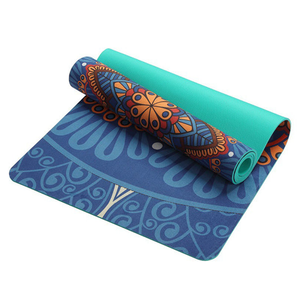 Lotus Pattern Suede Material Non-slip Yoga Mat 5mm For Fitness Losing Weight Multifunction Also For Gym Sports Camping Exercise