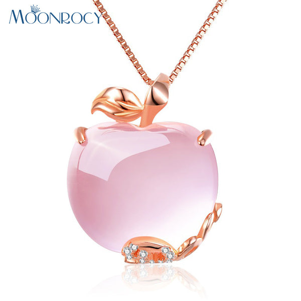 MOONROCY Ross Quartz CZ Crystal Pink Opal Apple Shape Pendant Necklace Choker for Women Girls Cute Gift Drop Shipping Wholesale