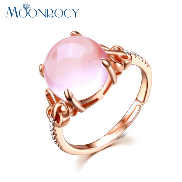 MOONROCY Cubic Zirconia Rose Gold Color Ross Quartz Crystal Pink Opal Ring Butterfly Jewelry Wholesale for Women Drop Shipping