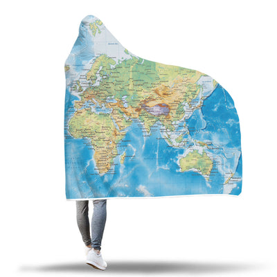 World Map Hooded Blanket