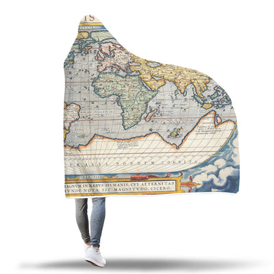 Vintage World Map Hooded Blanket