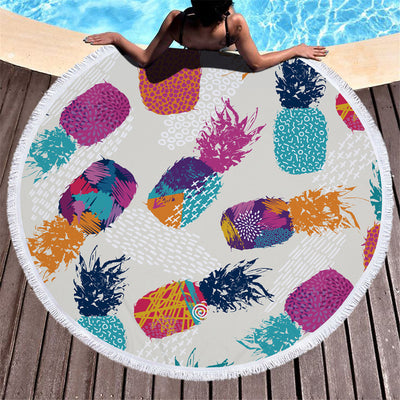 Pineapple Thick Terry Round Beach Towel/Round Yoga Mat with Fringe Tassels