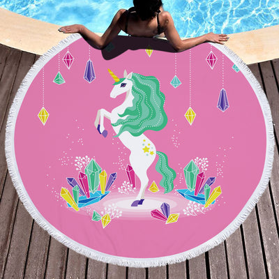 Cute Unicorn Thick Travel Round Towel & Blanket