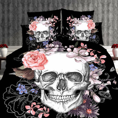 Full Size Super Cool Flower and Skull Print 4 Pieces Bed Set - Laizis