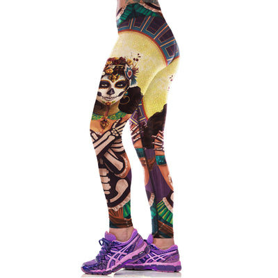 SKULL GIRL SPORTS YOGA LEGGINGS - Laizis