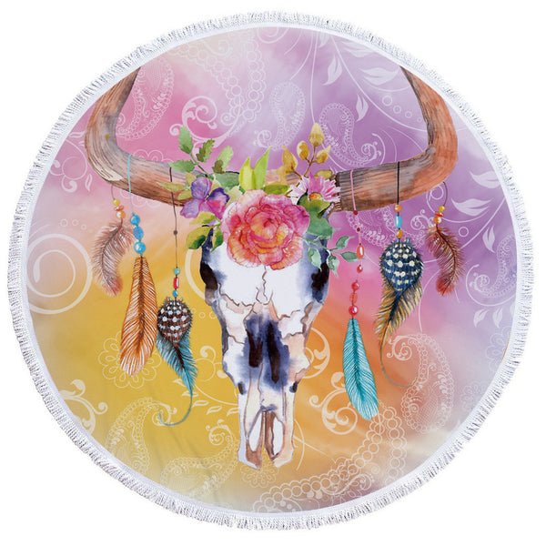 Round Boho Chic Bull Skull Dream Catcher Beach Towel - Laizis
