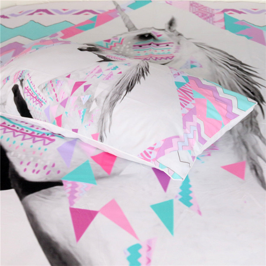 3D Rainbow Unicorn Duvet Cover Bedding Set - Laizis