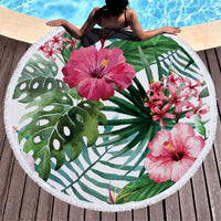 SOFTBATFY Floral Thick Terry Round Beach Towel/Round Yoga Mat with Fringe Tassels